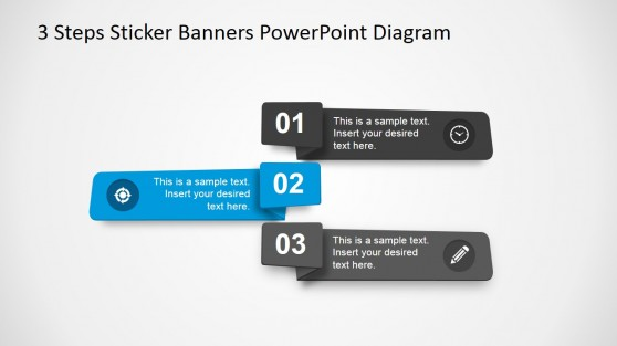 Interlaced Flat Horizontal 3 Steps PowerPoint Banner
