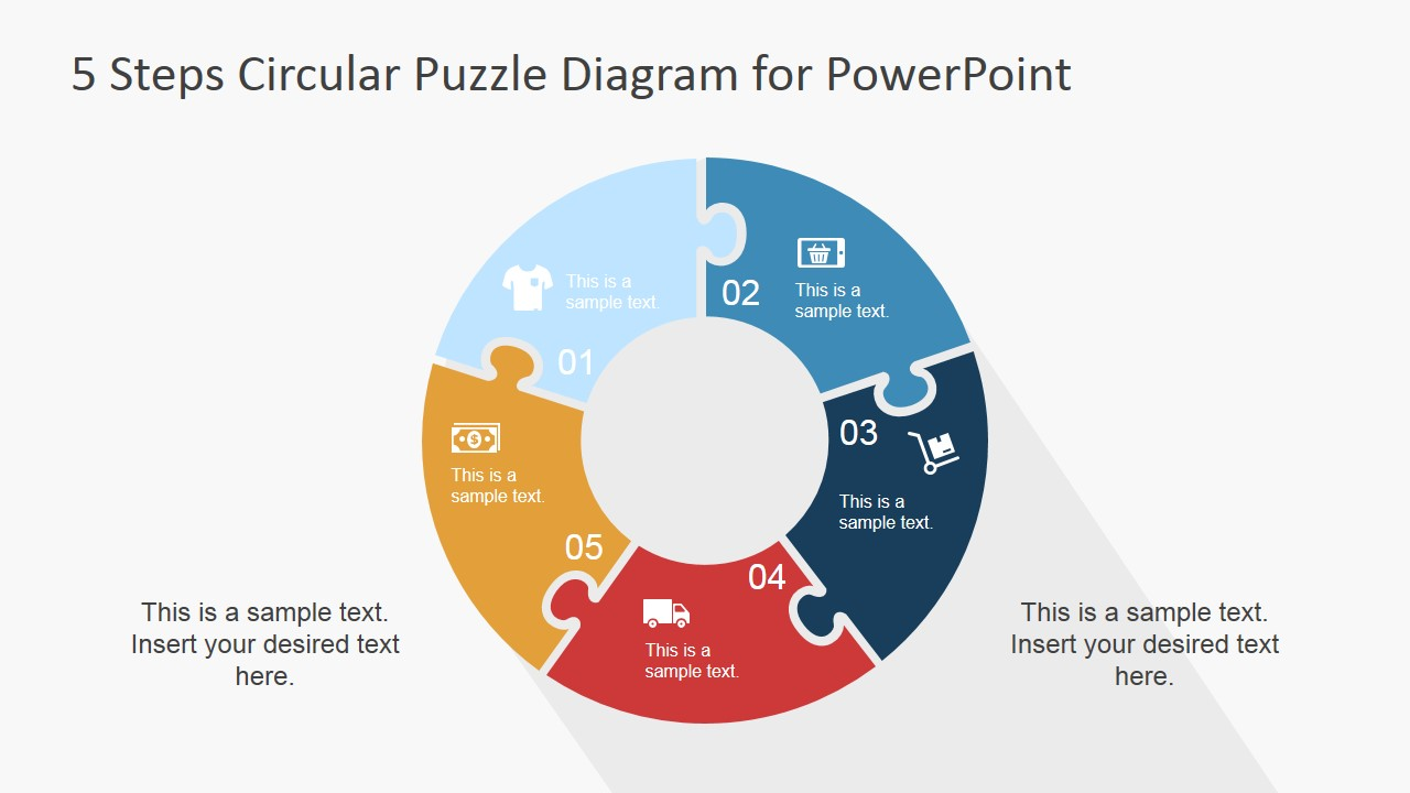 5 Jigsaw Puzzle Pieces Ring Diagram For PowerPoint