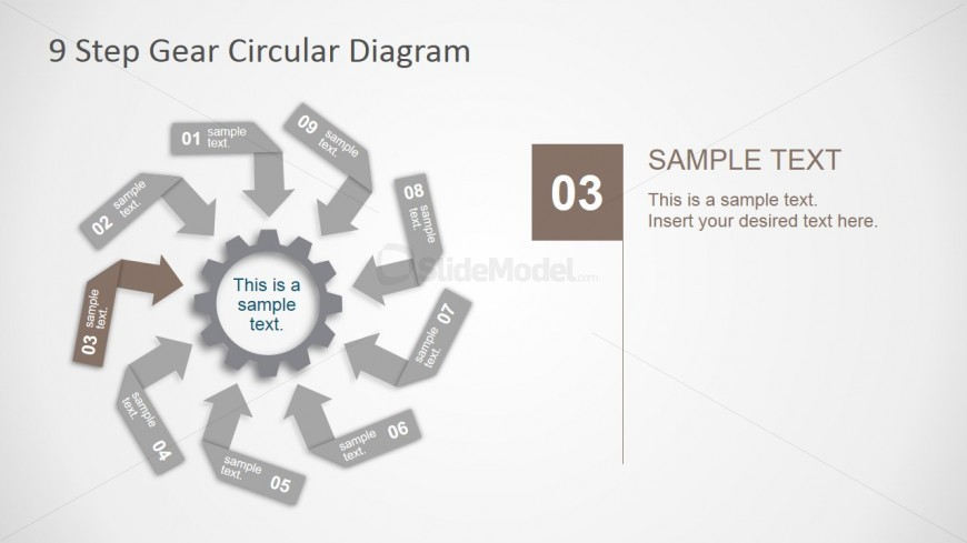 PowerPoint Diagram Featuring Nine Steps Arrows