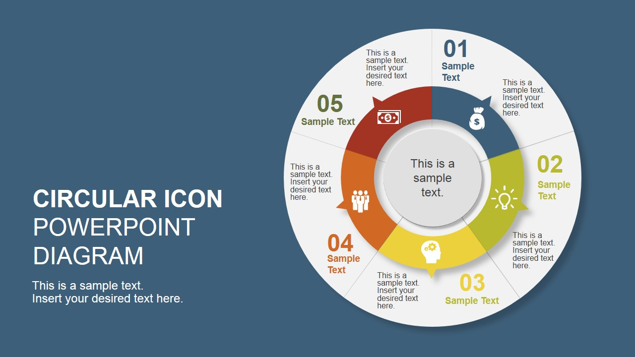 5 step creative circular diagram design for powerpoint slidemodel