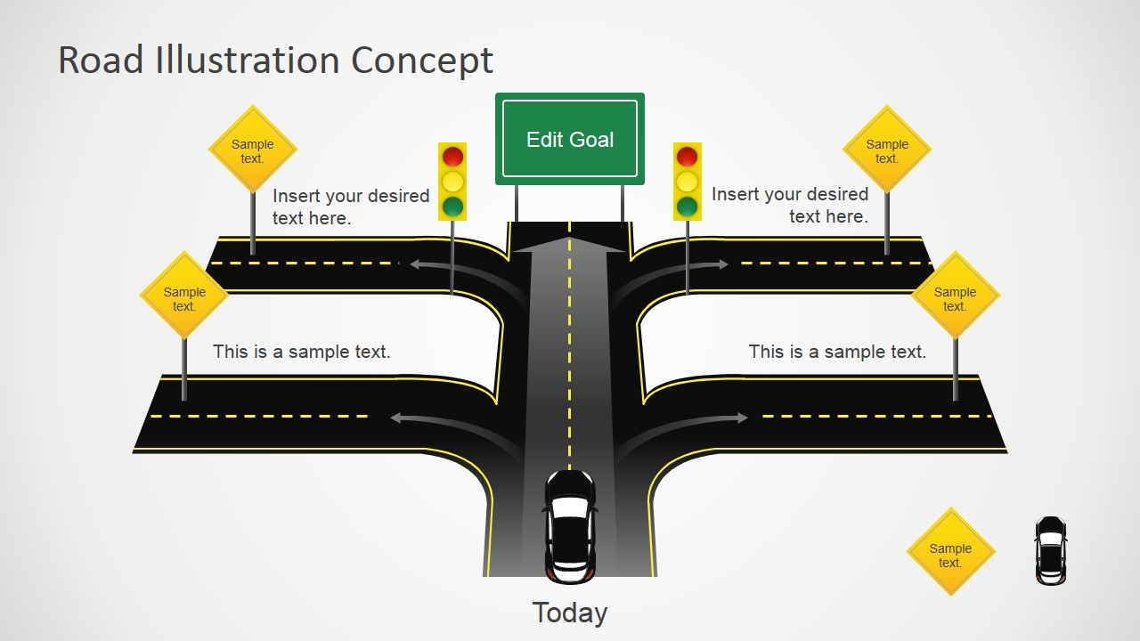 traffic road powerpoint template design with road cross, Modern powerpoint