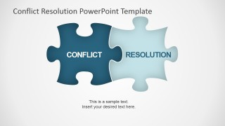 PowerPoint Shapes of Jigsaw Puzzle for Conflict Resolution Metaphor