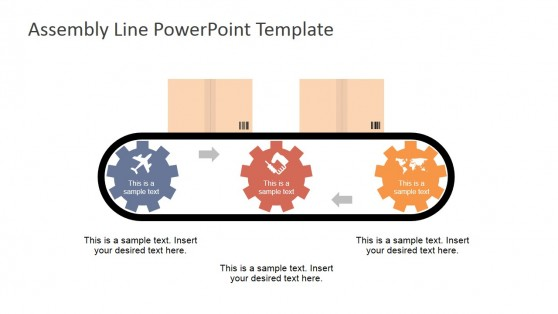Three Steps Assembly Line Gears Shape for PowerPoint