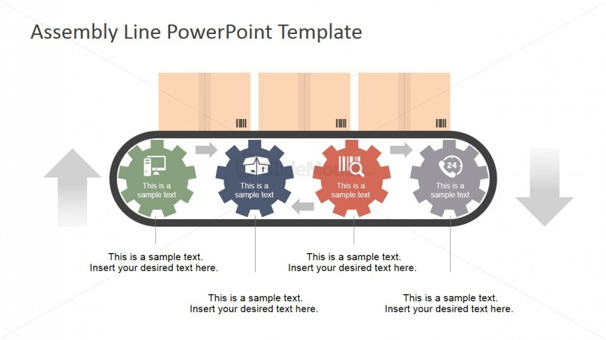 PowerPoint Four Gears Shapes Conveyor Belt