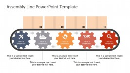PowerPoint Shapes Five Steps Gears Conveyor Belt