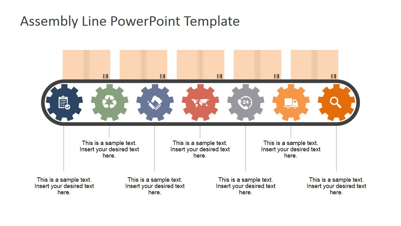 PowerPoint Assembly Line Shapes with Seven Workstations