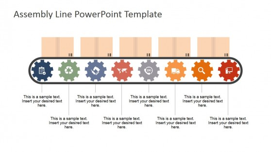Eight Steps Conveyor Belt PowerPoint Shapes for PowerPoint