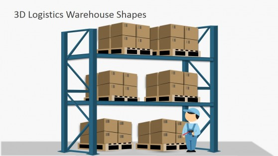 Box Pallets In Warehouse Shelves for PowerPoint