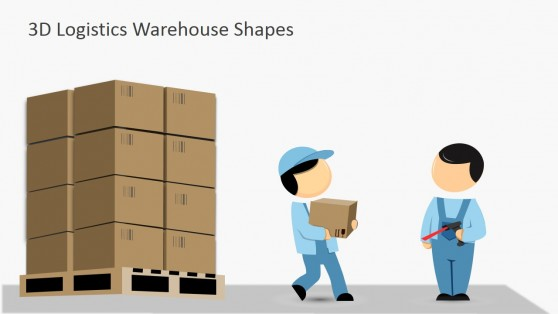 Clipart Workers Carrying Boxes in Pallets