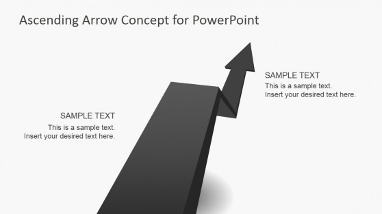 Asphalt Shape Design for PowerPoint with Rising Arrow