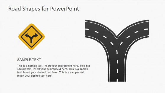 Road Fork Symbol and Illustration for PowerPoint