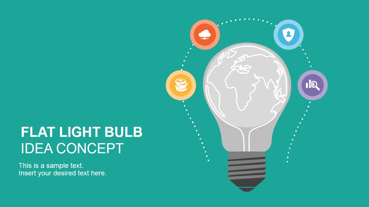 Flat light bulb idea concept for powerpoint slidemodel flat light bulb design toneelgroepblik Image collections