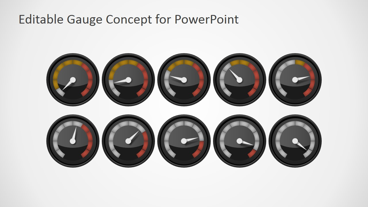 editable gauge concept for powerpoint - slidemodel, Powerpoint templates