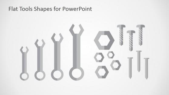 Fixed Wrenches Flat Design Shapes for PowerPoint