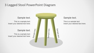 PowerPoint Shapes of Wooden Stool with 3 Legs