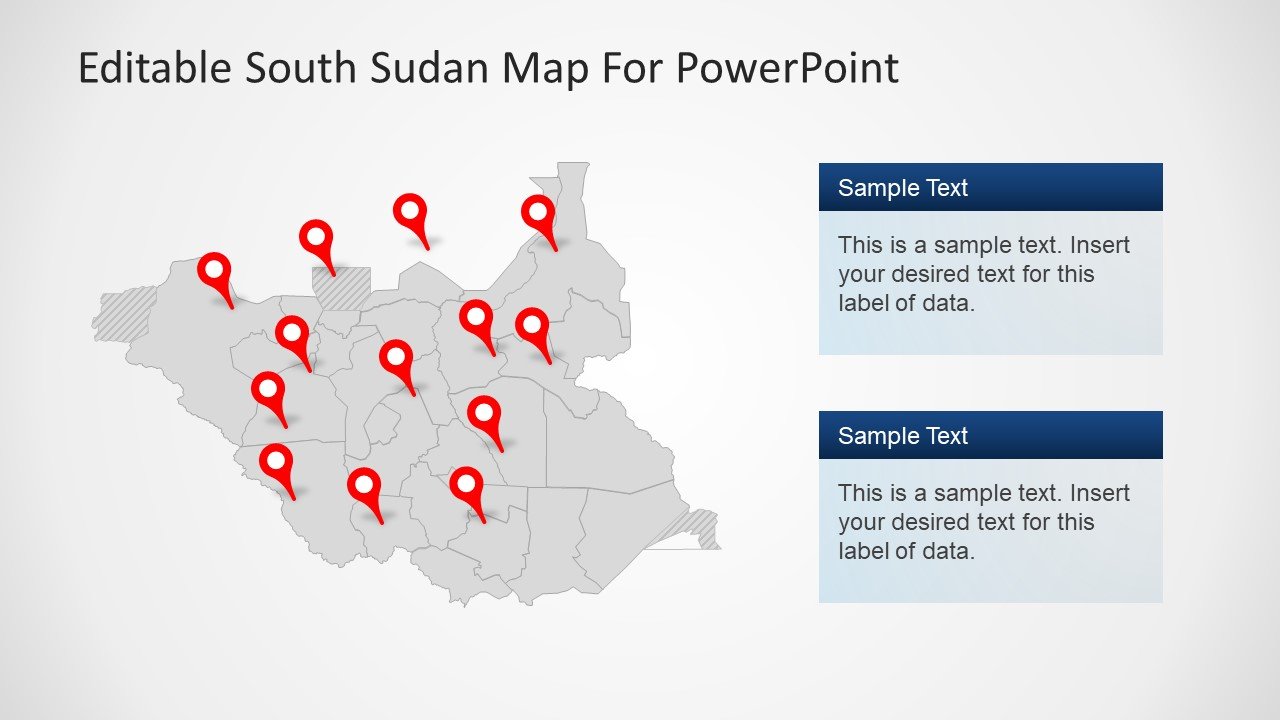 Flat Outline Map for South Sudan