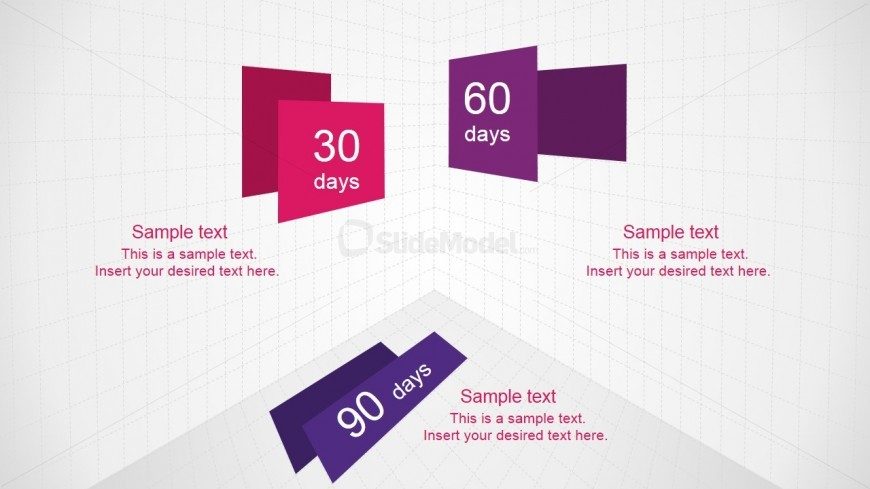 PowerPoint 3D Cube Daigram for 30 60 90 Days Plan
