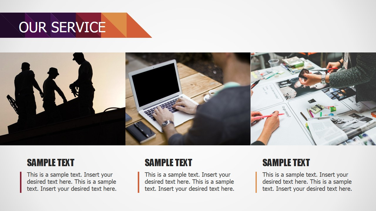 PowerPoint Slide with Three Vertical Photo Tiles