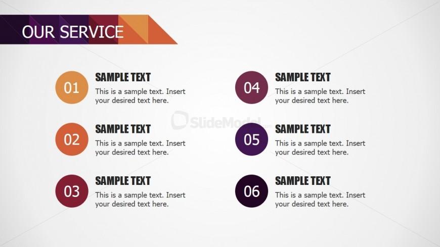 PowerPoint Modern Table Our Service Description