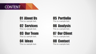 Agenda Slide for PowerPoint from Small Business Deck