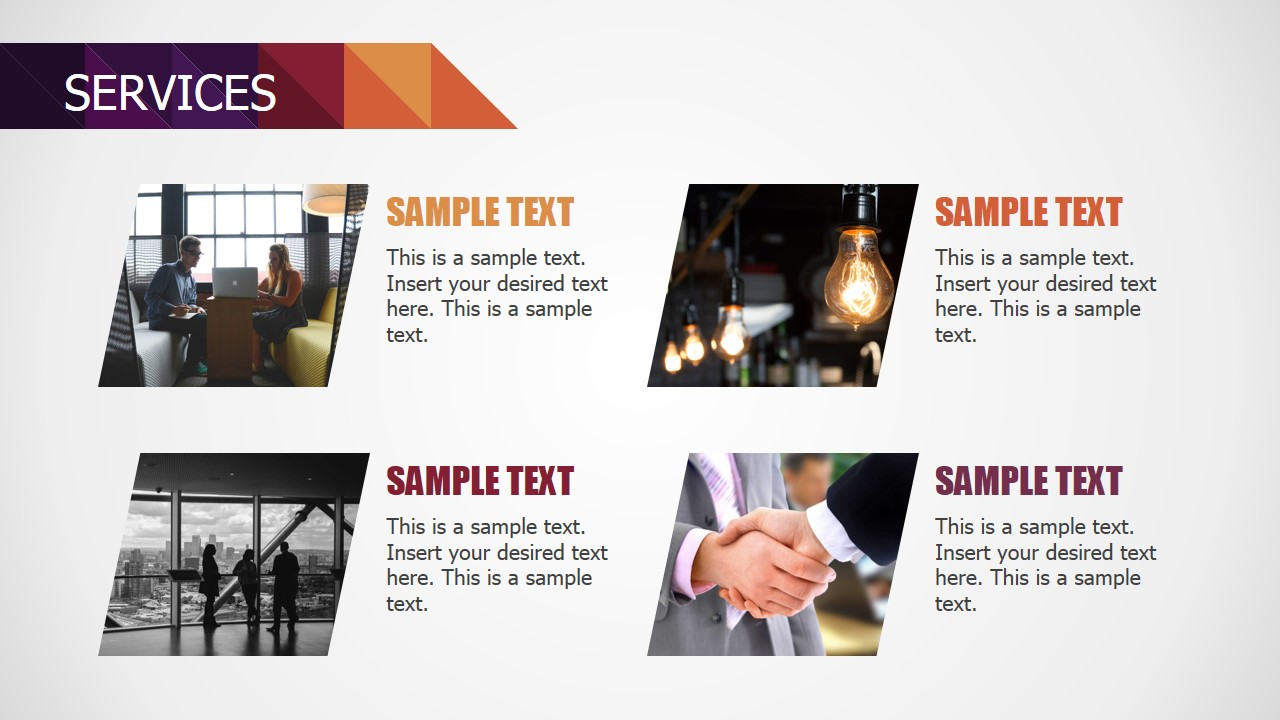 PowerPoint Flat Matrix of Services Descriptions for Small Business