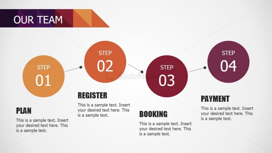 PowerPoint Four Steps Process Diagram for Our Team
