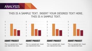 PowerPoint Bar Chart for Four KPI Dashboard