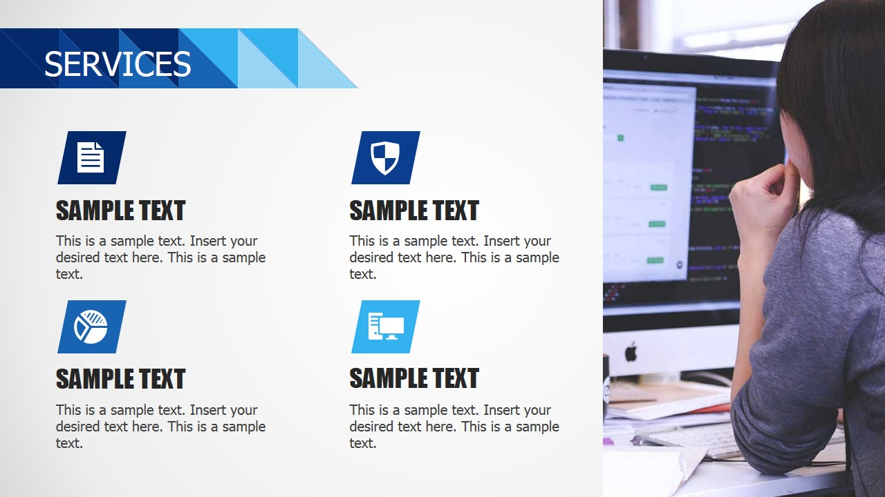Four PowerPoint Icons with Image Pane Design