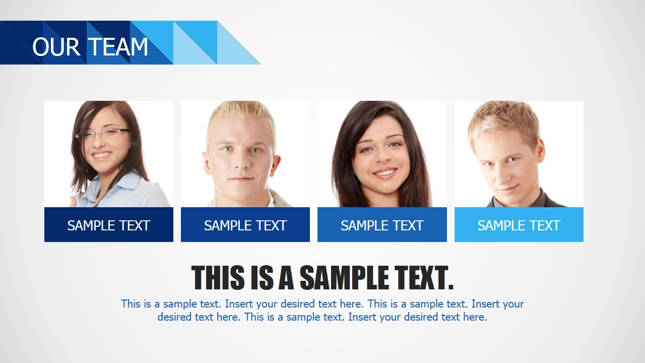 Our Team Template Section with Blue Photo Placeholders - SlideModel