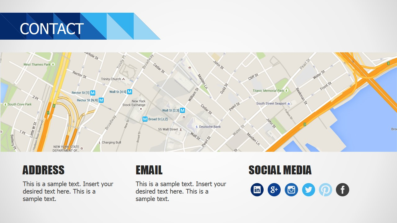 PowerPoint Contact Us Slide Design Blue Business Deck