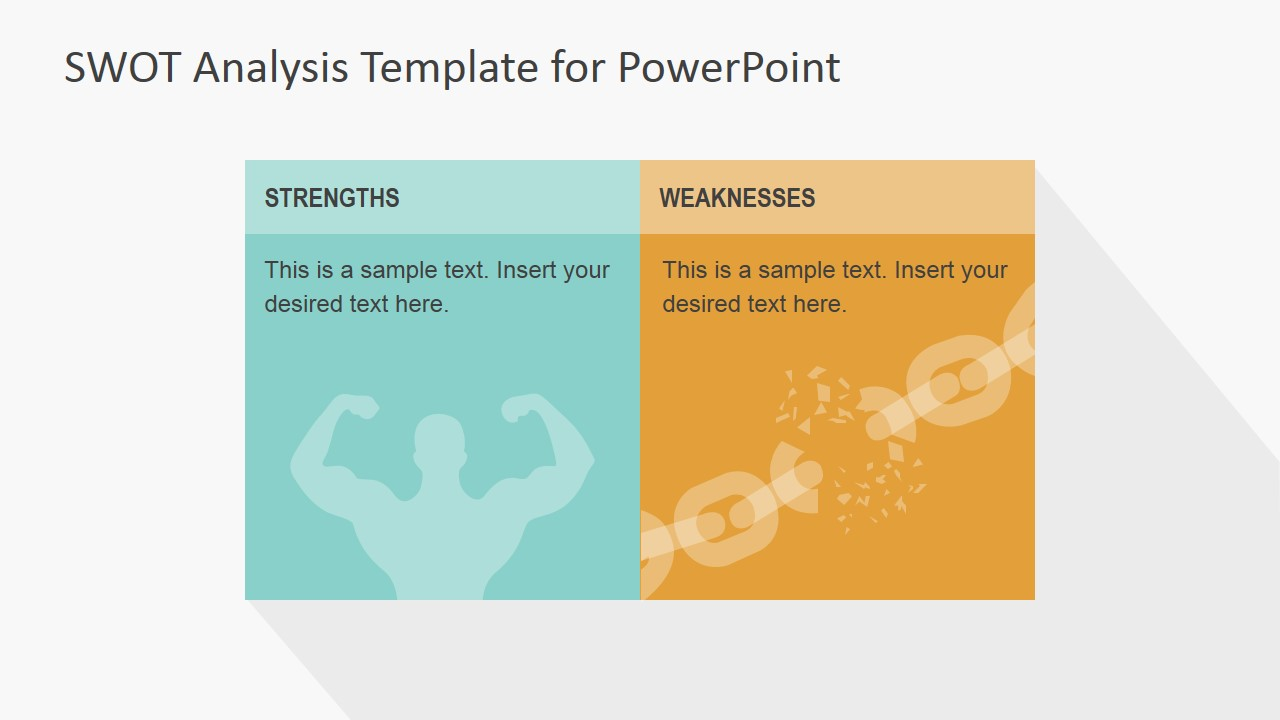 flat swot powerpoint template slidemodel powerpoint slide design featuring strengths and weaknesses swot