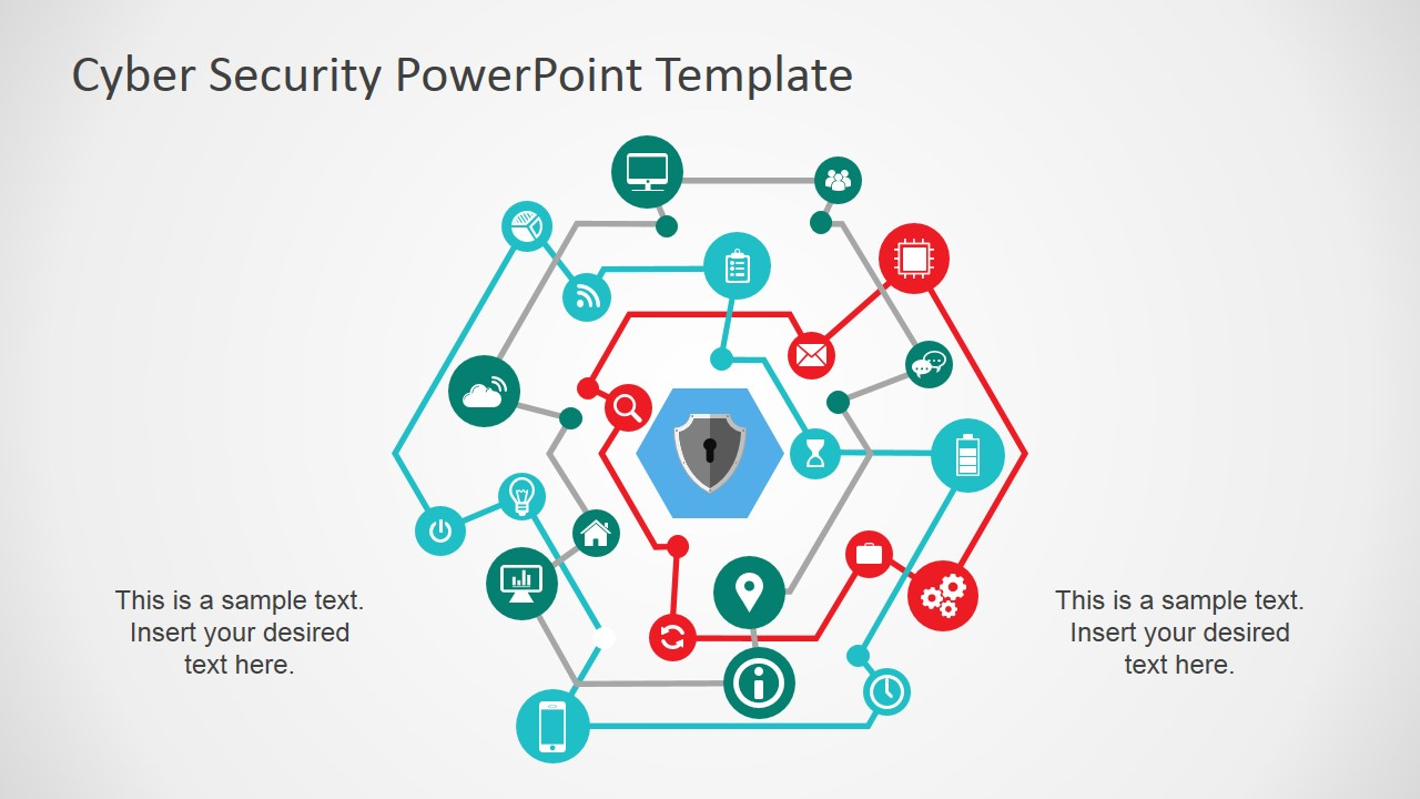 Cyber Security Powerpoint Template Slidemodel Process Flow Diagram Presentation Featuring Digital Networks
