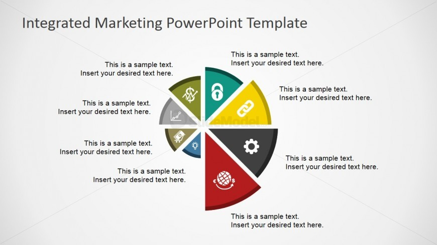 Flat spyral chart for powerpoint slidemodel for Integrated marketing communications plan template