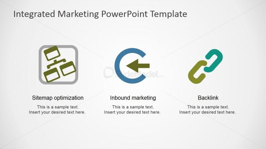 PowerPoint Clipart Featuring SiteMap Optimization, Inbound Marketing and Backlinks