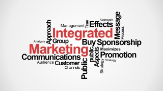 PowerPoint Word Cloud Around Integrated Marketing
