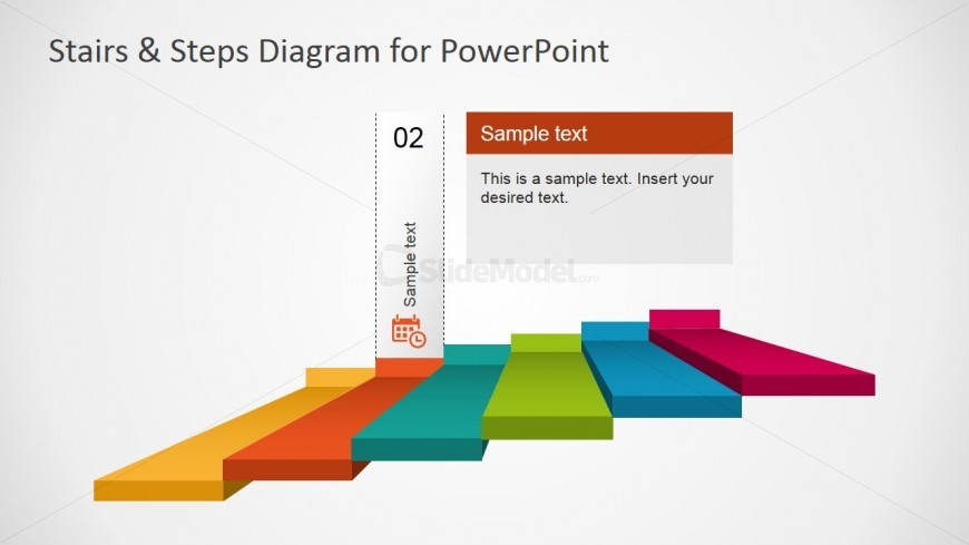 PowerPoint 6 Steps Diagram with Calendar Second Step