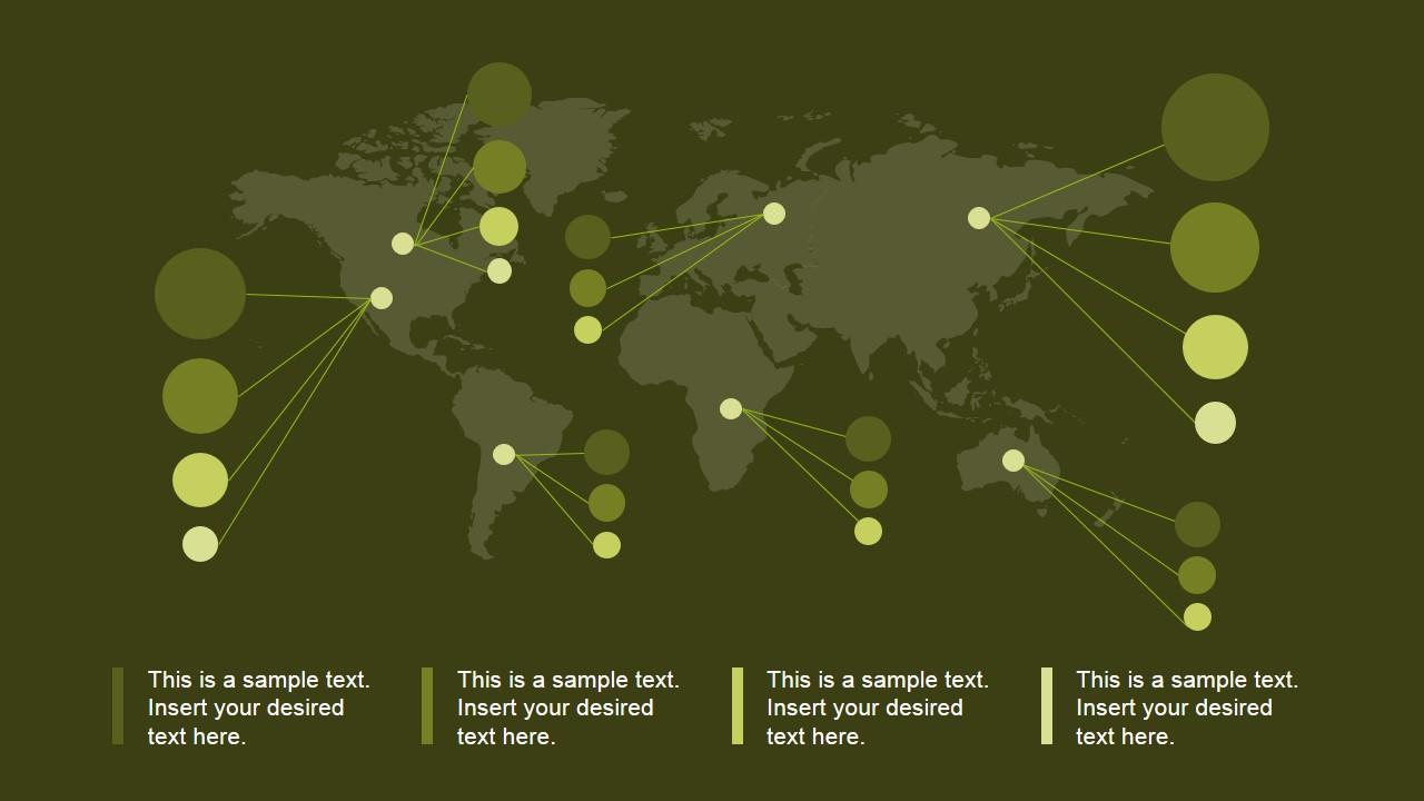 PowerPoint World Map Green Background