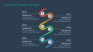 PowerPoint Roadmap of 6 Milestones Flat Design