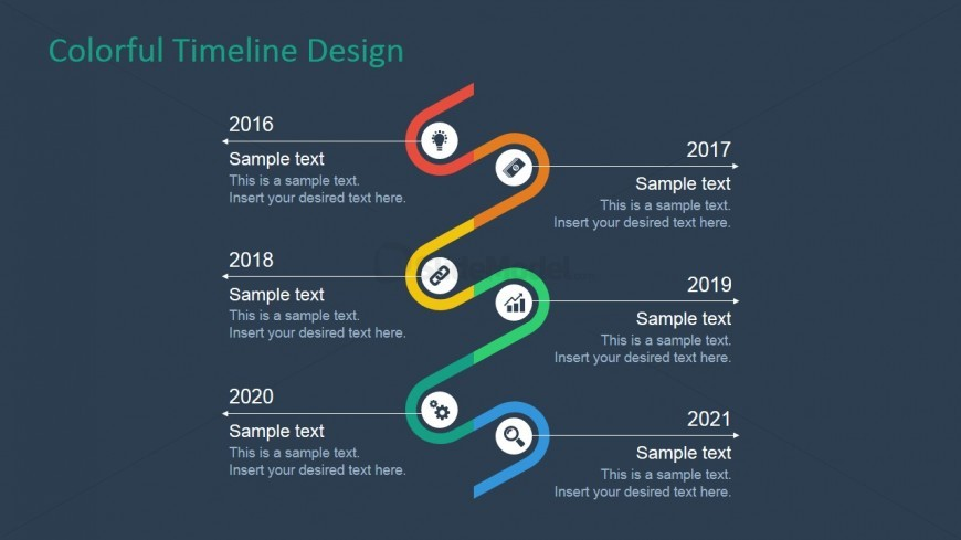 PowerPoint Roadmap of 6 Milestones Flat Design