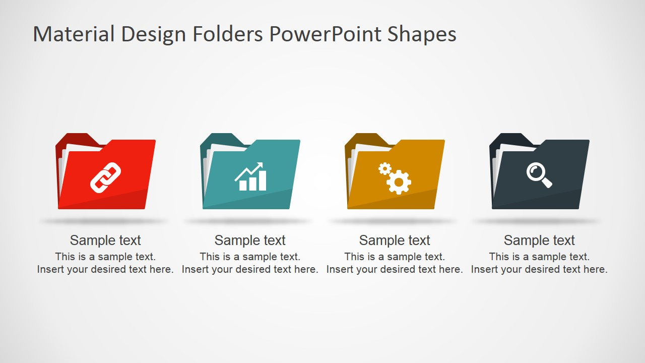Material design folders powerpoint shapes slidemodel ppt template flat document folders icons toneelgroepblik Choice Image