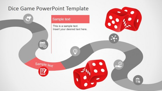 Dice Games Slide Design for PowerPoint Timeline