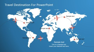 Travel World Map Illustration Slide for PowerPoint