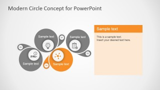 PowerPoint Modern Circles 4 Steps Diagram
