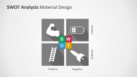 Gray SWOT Diagram for PowerPoint with Icons