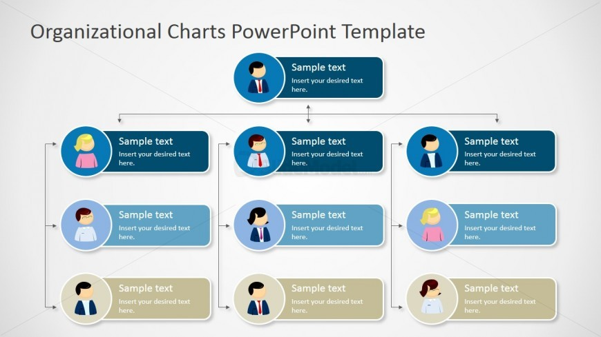 Four Levels Tree Organizational Chart For Powerpoint Slidemodel
