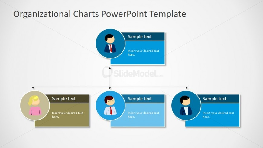 Powerpoint two level org chart with textbox placeholders for Power point org chart template