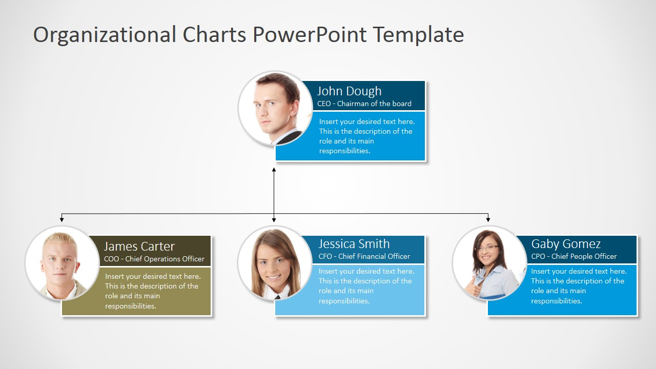 Organizational Chart with Photo Placeholders - SlideModel