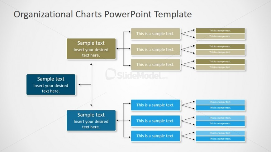 Horizontal Orgchart Powerpoint Diagram - Slidemodel