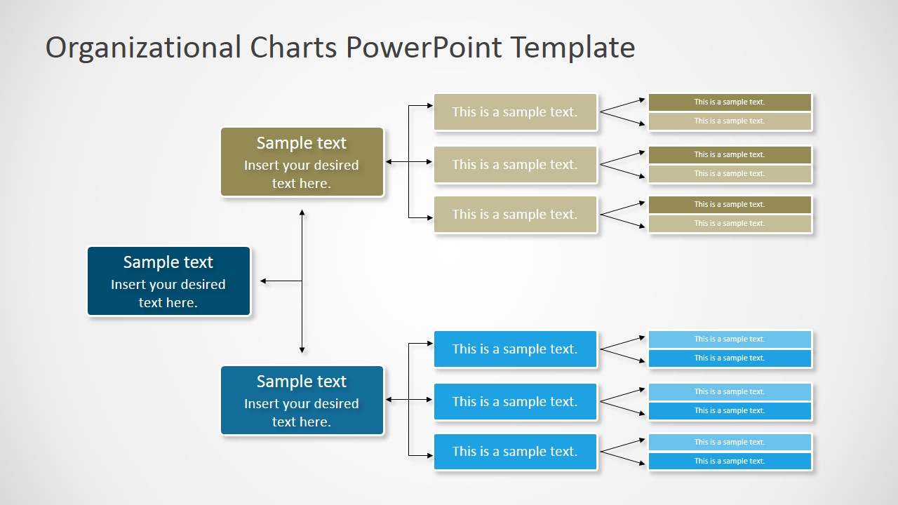Horizontal orgchart powerpoint diagram slidemodel for Power point org chart template