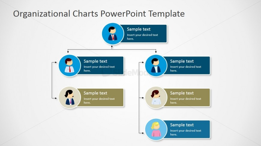 power point org chart template - vertical org chart tree diagram slidemodel